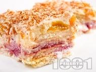 Бисквитена торта със сушени кайсии, бял шоколад и ром